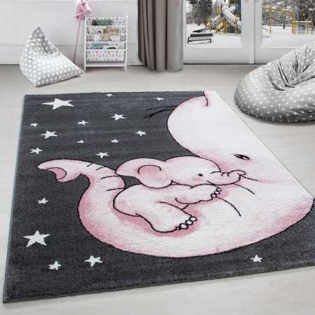 Rug child room elephant and stars Grey-White-Pink