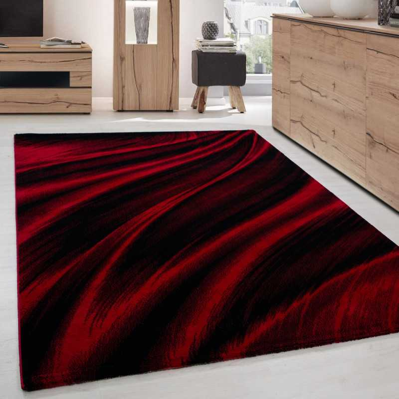 Tapis de salon moderne designe vague Miami 6630 Rouge-Noir