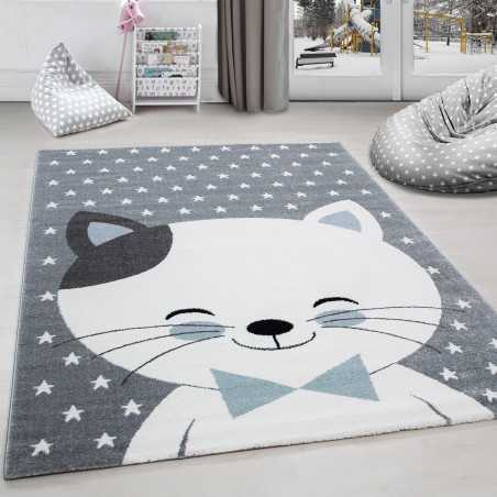 Mat child room cat and stars Grey-White-Blue