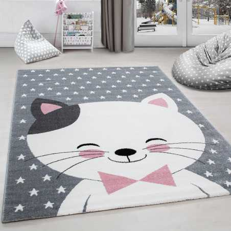 Rug child room cat and stars Grey-White-Pink