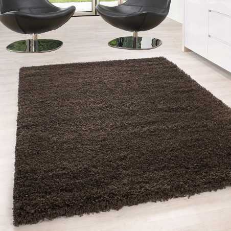 Rug Shaggy pile long single color stack Height 5cm BROWN
