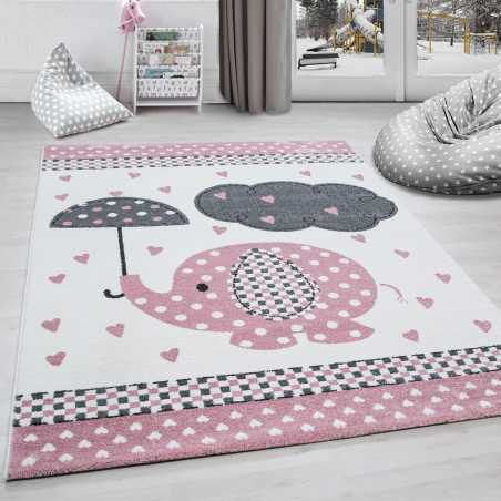 Rug child room elephant umbrella rain heart-Grey-White-Pink