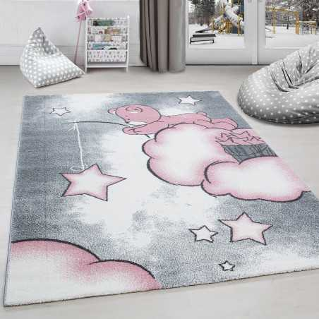 Rug child room bear fishing for stars-Grey clouds and White-Pink