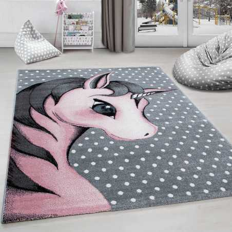 Rug child room Unicorn Grey-White-Pink