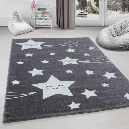 Rug child room shooting star Grey-White