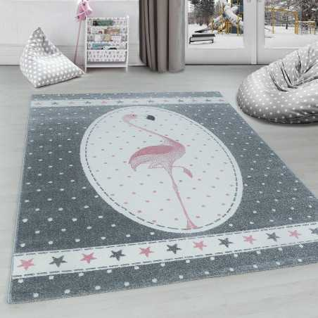 Rug for child Flamingo with star pattern Pink Grey White