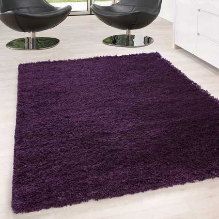 Rugs Shaggy pile long single color stack Height 5cm PURPLE