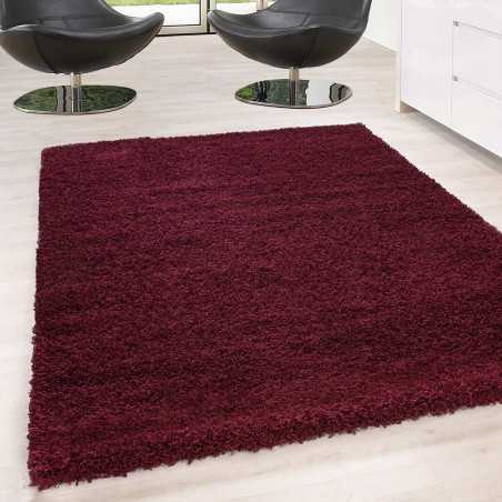 Rugs Shaggy pile long single color stack Height 5cm RED