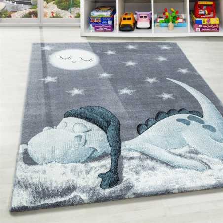 Rug Child Room Baby pattern Dino Gray Blue White