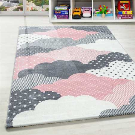 Mat Child Baby Room pattern Clouds Pink Gray White