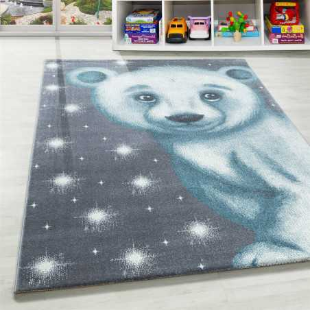 Rug Child Room Baby pattern bears Blue Grey White