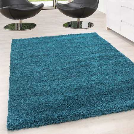 Rug Shaggy pile long single color stack Height 5cm TURQUOISE