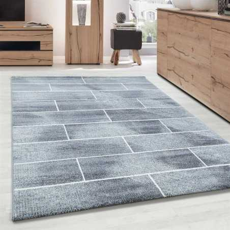 Rug Modern Design wall stone optic hair short Grey-White