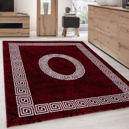 Tapis Design Moderne Bordure Ornement De Marbre Optique Noir Rouge Blanc