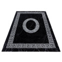 Tapis Design Moderne Bordure Ornement De Marbre Optique Noir Blanc