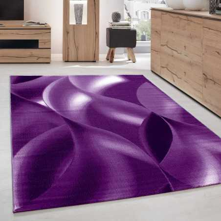Rugs Modern Living room abstract shadow Wave Optical Black Purple White