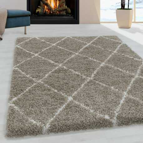 Tapis de salon Shaggy Motif de diamant Poil souple couleur Beige