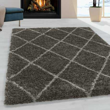 Tapis de salon Shaggy Motif de diamant Poil souple couleur Taupe