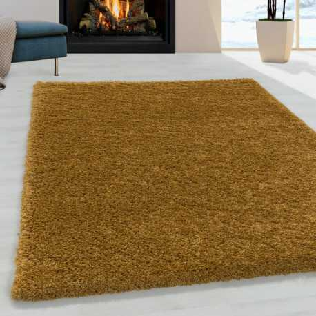 Tapis de salon Shaggy Design Poil Souple Monochrome Or