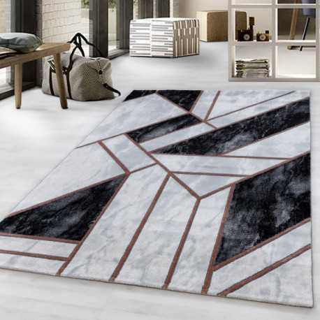 Short pile rug Living room rug Marble Pattern Abstract Pattern Bronze Lines