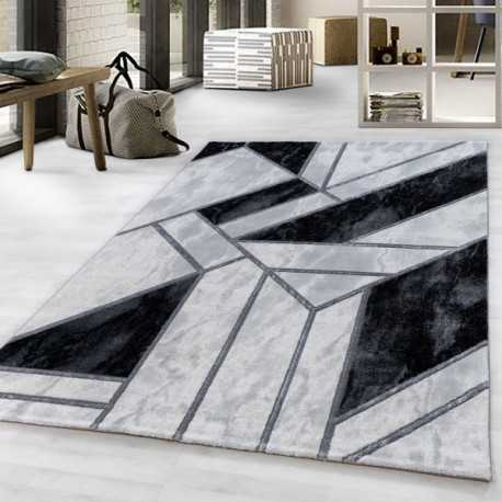 Short pile rug Living room rug Marble Pattern Abstract Pattern Silver Lines