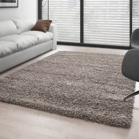 Rug Shaggy pile long single color Taupe