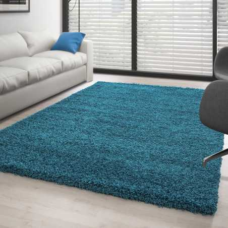 Rug Shaggy pile long single color TURQUOISE