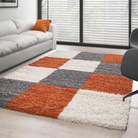 Rug Shaggy pile long appointed to tiles TERRACOTTA-WHITE-GREY